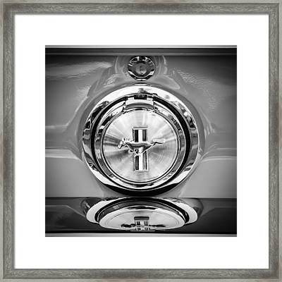 1967 Ford Mustang Gas Cap Emblem -0053bw Framed Print