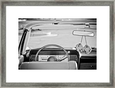 1967 Lincoln Continental Steering Wheel -014bw Framed Print