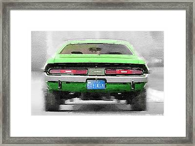 1968 Dodge Challenger Rear Watercolor Framed Print by Naxart Studio