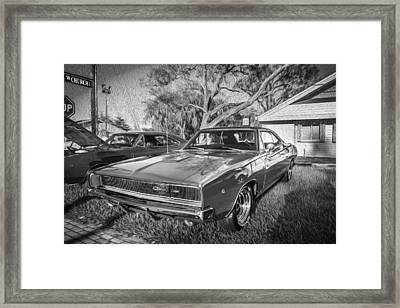 1968 Dodge Charger The Bullit Car Bw Framed Print by Rich Franco