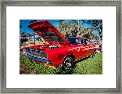 1968 Dodge Charger The Bullit Car Painted Framed Print by Rich Franco