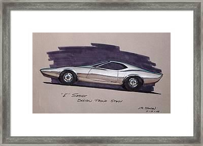1968 E-body Barracuda   Plymouth Vintage Styling Design Concept Rendering Sketch Framed Print by John Samsen