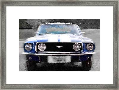 1968 Ford Mustang Front End Watercolor Framed Print by Naxart Studio