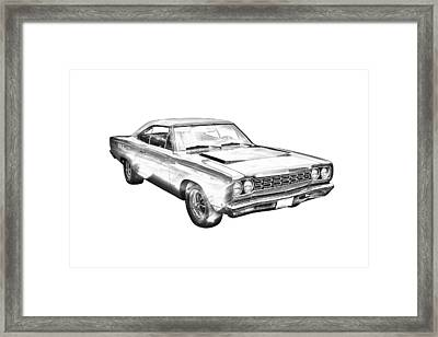 1968 Plymouth Roadrunner Muscle Car Illustration Framed Print