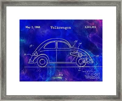 1968 Vw Patent Drawing Blue Framed Print by Jon Neidert