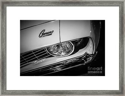 1969 Chevrolet Camaro In Black And White Framed Print by Paul Velgos