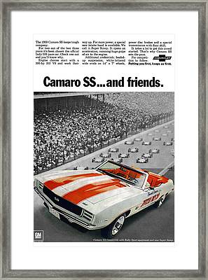 1969 Chevrolet Camaro Ss Indy 500 Pace Car Ad Framed Print by Digital Repro Depot