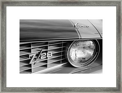 1969 Chevrolet Camaro Z-28 Grille Emblems Framed Print by Jill Reger