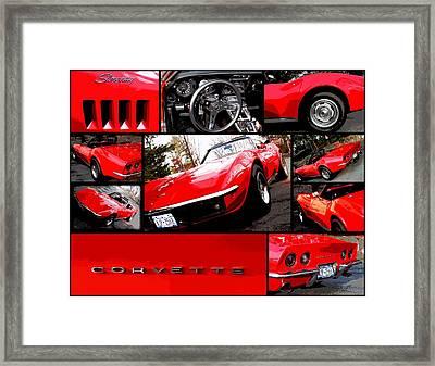 1969 Chevrolet Corvette Stingray Pop Art Collage 1 Framed Print