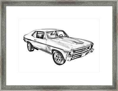 1969 Chevrolet Nova Yenko 427 Muscle Car Illustration Framed Print
