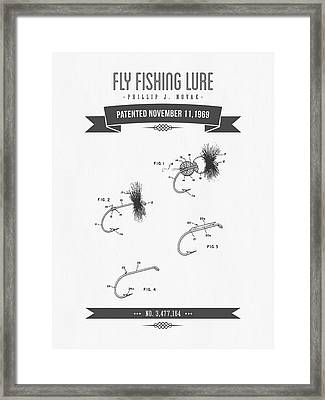 1969 Fly Fishing Lure Patent Drawing Framed Print by Aged Pixel