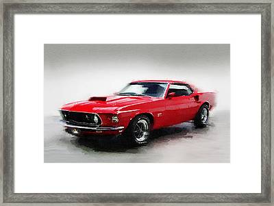 1969 Ford Mustang Watercolor Framed Print by Naxart Studio