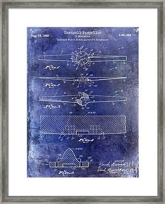 1969 Hartzell Propeller Patent Blue Framed Print by Jon Neidert