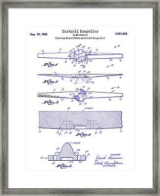 1969 Hartzell Propeller Patent Blueprint Framed Print by Jon Neidert