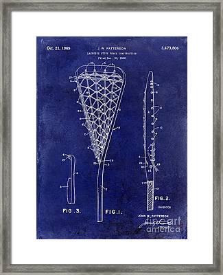 1969 Lacrosse Stick Patent Drawing Blue Framed Print by Jon Neidert