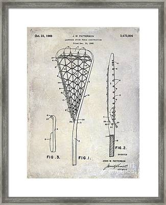 1969 Lacrosse Stick Patent Drawing Framed Print by Jon Neidert