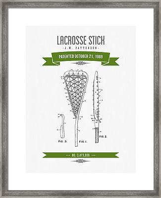 1969 Lacrosse Stick Patent Drawing - Retro Green Framed Print