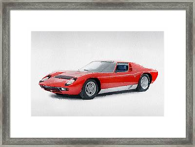 1969 Lamborghini Miura P400 S Watercolor Framed Print by Naxart Studio