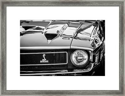 1969 Shelby Cobra Gt500 Front End - Grille Emblem -0202bw Framed Print by Jill Reger