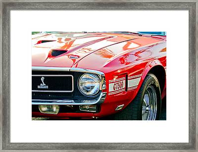1969 Shelby Cobra Gt500 Front End - Grille Emblem Framed Print by Jill Reger
