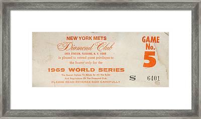 1969 World Series Diamond Club Ticket Framed Print