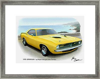 1970 Barracuda Classic Cuda Plymouth Muscle Car Sketch Rendering Framed Print by John Samsen