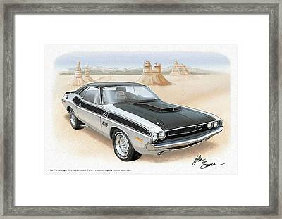 1970 Challenger T-a Dodge Muscle Car Sketch Rendering Framed Print by John Samsen
