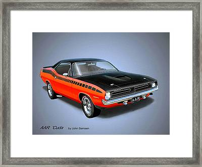 1970 'cuda Aar  Classic Barracuda Vintage Plymouth Muscle Car Art Sketch Rendering         Framed Print by John Samsen