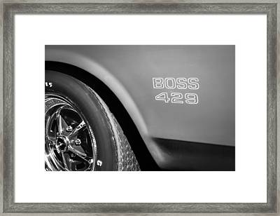 1970 Ford Mustang Boss 429 Wheel Emblem -0370bw Framed Print by Jill Reger