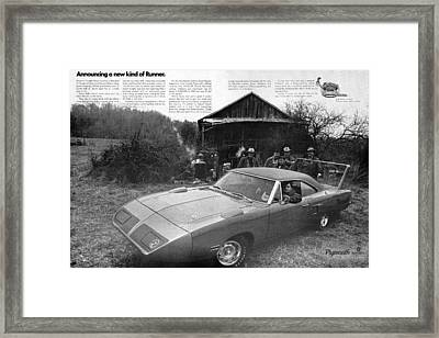 1970 Plymouth Superbird - Announcing A New Kind Of Runner Framed Print by Digital Repro Depot