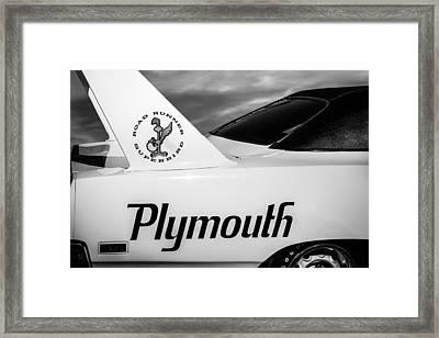 1970 Plymouth Superbird Emblem -0520bw Framed Print by Jill Reger