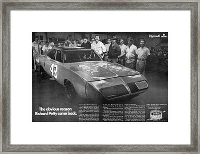 1970 Plymouth Superbird - The Obvious Reason Richard Petty Came Back Framed Print by Digital Repro Depot