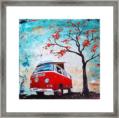 1970 Red Volkswagen Camper Bus Framed Print by Sheri Wiseman