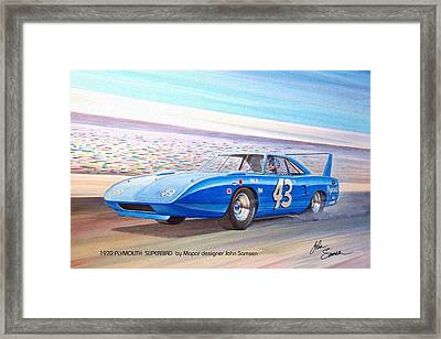 1970 Superbird Petty Nascar Racecar Muscle Car Sketch Rendering Framed Print by John Samsen