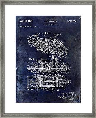 1970 Triumph Motorcycle Patent Drawing Blue Framed Print