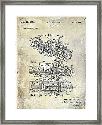 1970 Triumph Motorcycle Patent Drawing Framed Print