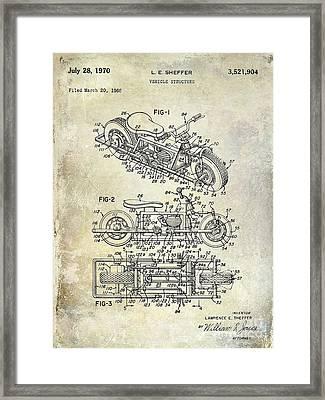 1970 Triumph Motorcycle Patent Drawing Framed Print by Jon Neidert