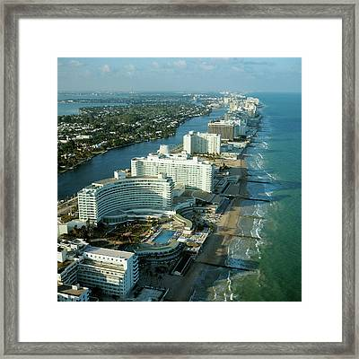 1970s Aerial View Hotel Row Miami Beach Framed Print