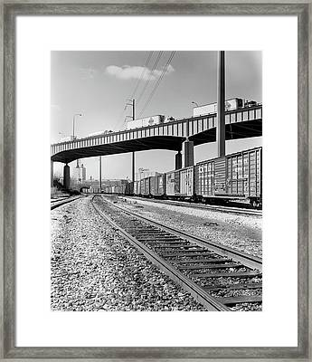 1970s Angled View Of Freight Train Framed Print