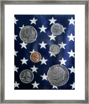 1970s Arrangement Of United States Coins Framed Print