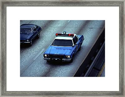 1970s Blue And White New York City Framed Print