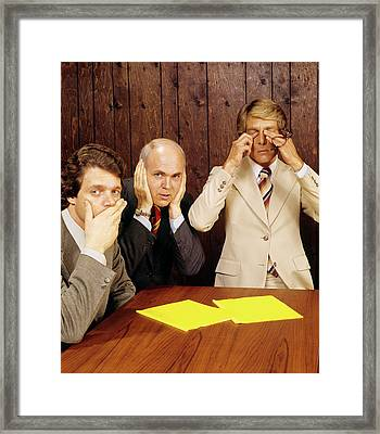 1970s Businessmen As Three Wise Monkeys Framed Print