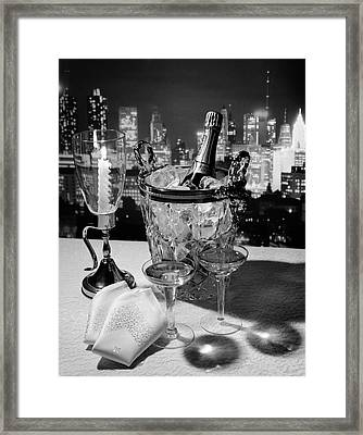 1970s Champagne Bottle In Ice Bucket Framed Print