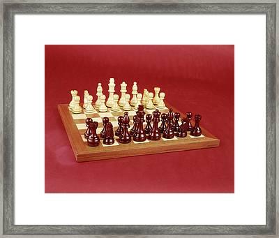 1970s Chess Set Arranged On Board Still Framed Print