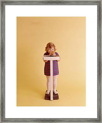 1970s Chubby Blonde Girl Striped Dress Framed Print