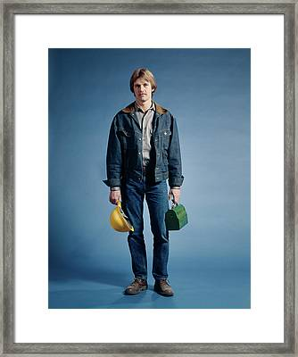 1970s Construction Worker Hat Lunch Box Framed Print