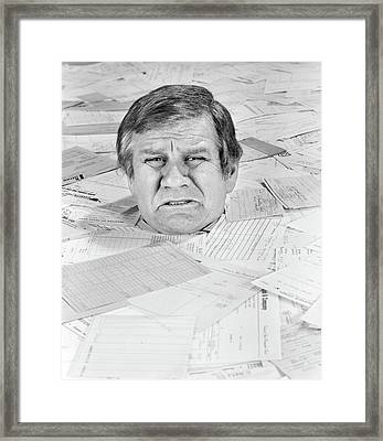 1970s Distressed Man Up To His Neck Framed Print