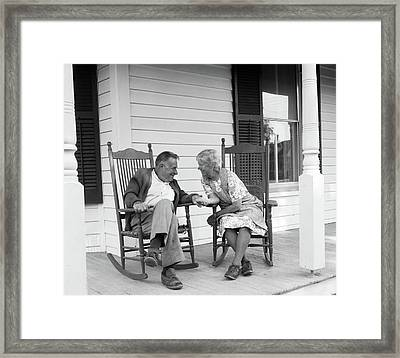 1970s Elderly Couple In Rocking Chairs Framed Print