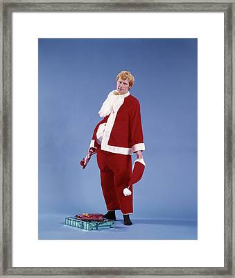 1970s Exhausted Man Father In Santa Framed Print