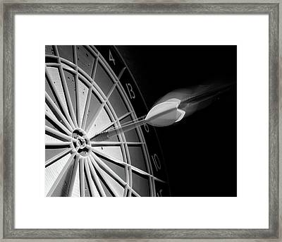 1970s Flying Dart Hitting Bulls-eye Framed Print